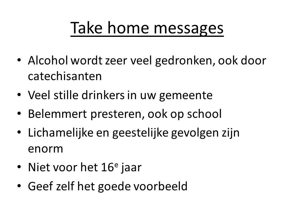 Take home messages Alcohol wordt zeer veel gedronken, ook door catechisanten. Veel stille drinkers in uw gemeente.