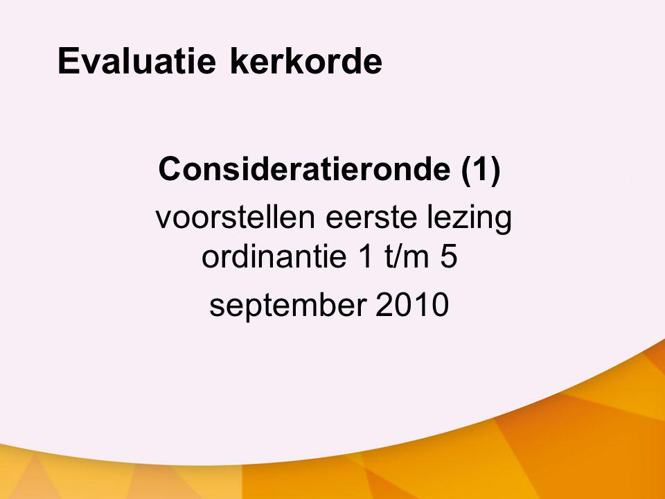 voorstellen eerste lezing ordinantie 1 t/m 5