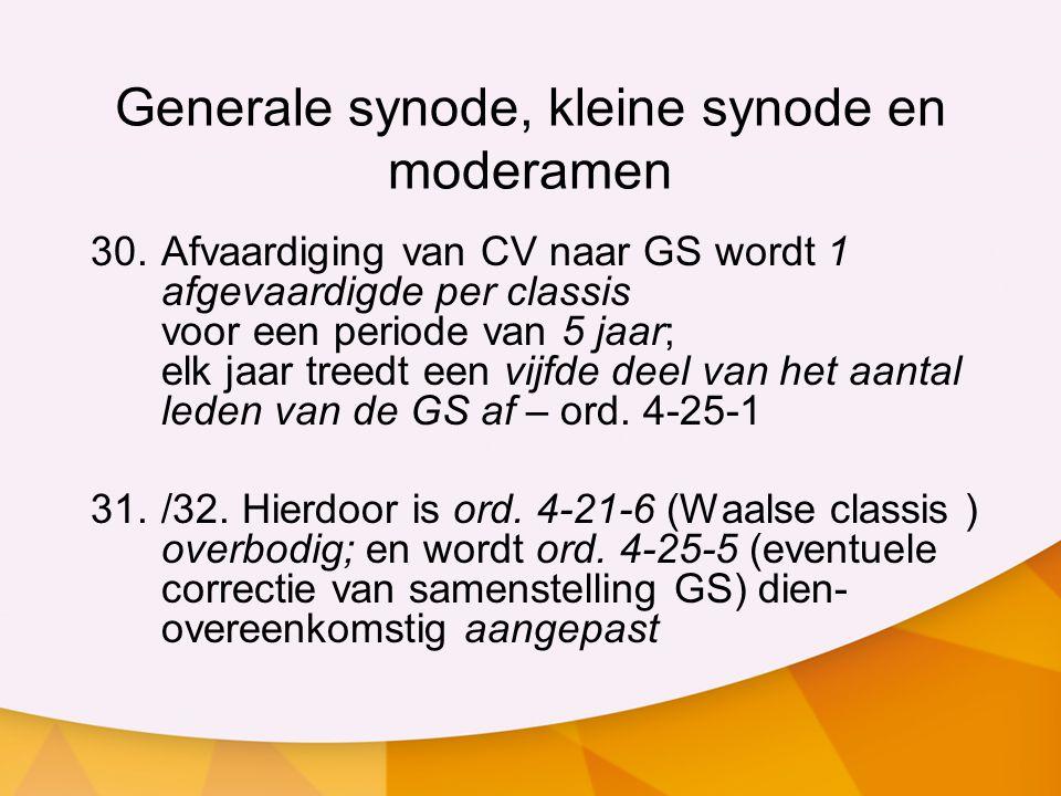 Generale synode, kleine synode en moderamen