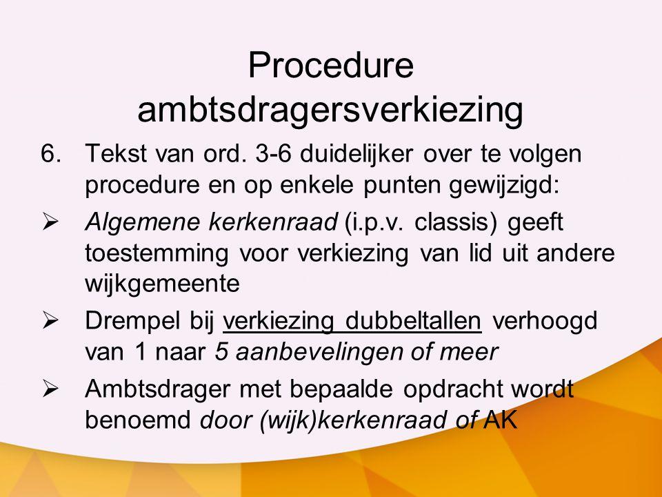 Procedure ambtsdragersverkiezing