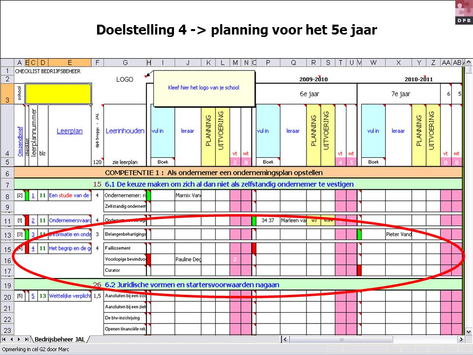 Doelstelling 4 -> planning voor het 5e jaar