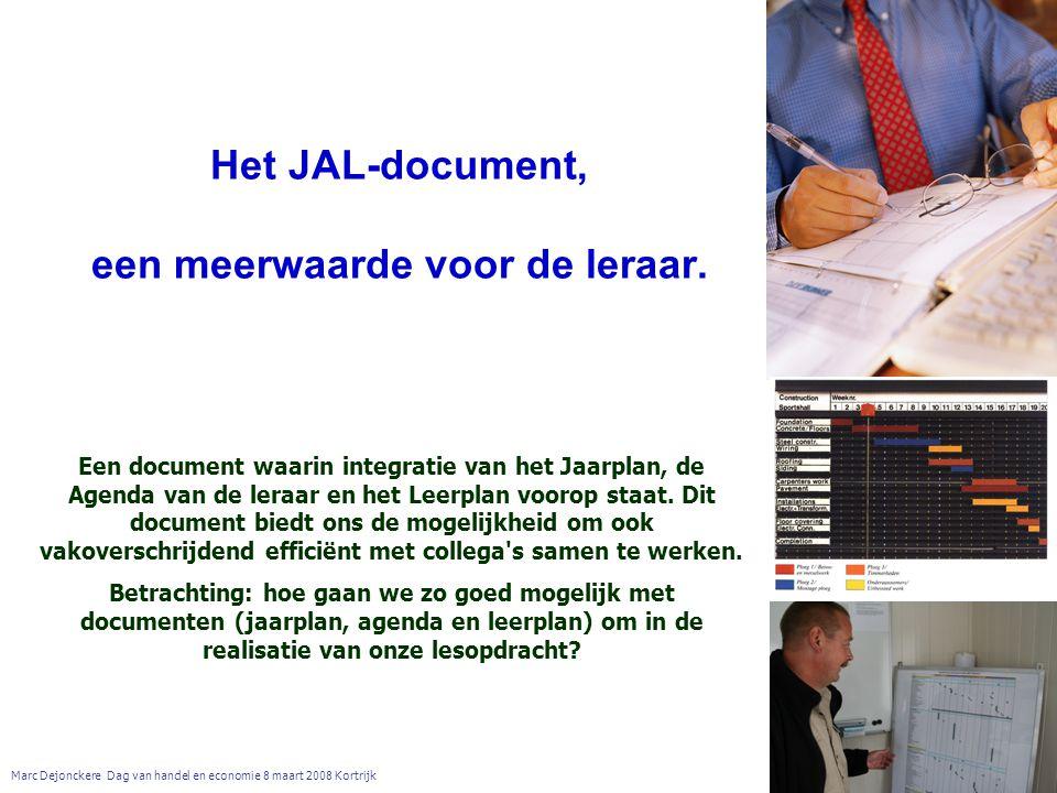 Het JAL-document, een meerwaarde voor de leraar.