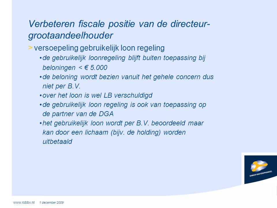 Verbeteren fiscale positie van de directeur-grootaandeelhouder