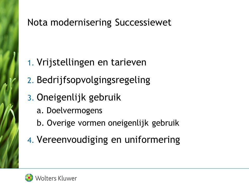 Nota modernisering Successiewet