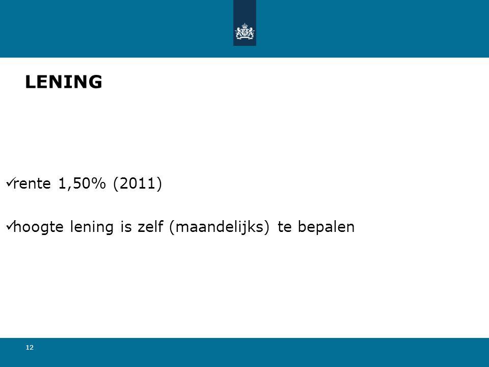 LENING rente 1,50% (2011) hoogte lening is zelf (maandelijks) te bepalen