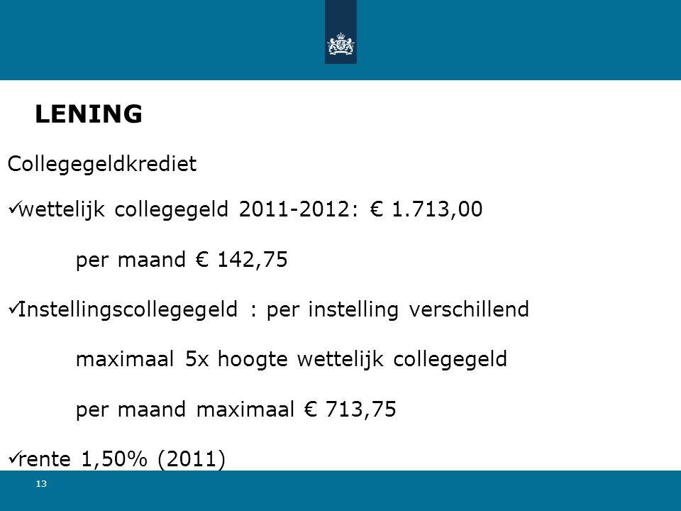 LENING Collegegeldkrediet wettelijk collegegeld 2011-2012: € 1.713,00