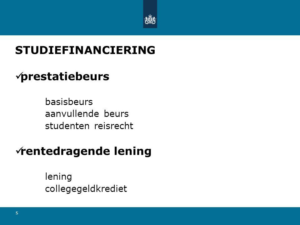 STUDIEFINANCIERING prestatiebeurs rentedragende lening basisbeurs