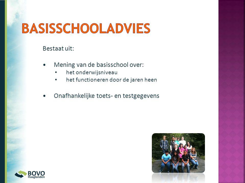 Basisschooladvies Bestaat uit: Mening van de basisschool over: