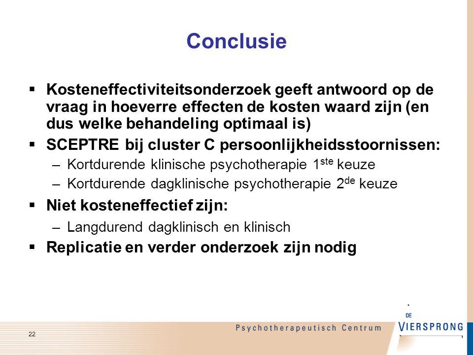 Conclusie Kosteneffectiviteitsonderzoek geeft antwoord op de vraag in hoeverre effecten de kosten waard zijn (en dus welke behandeling optimaal is)