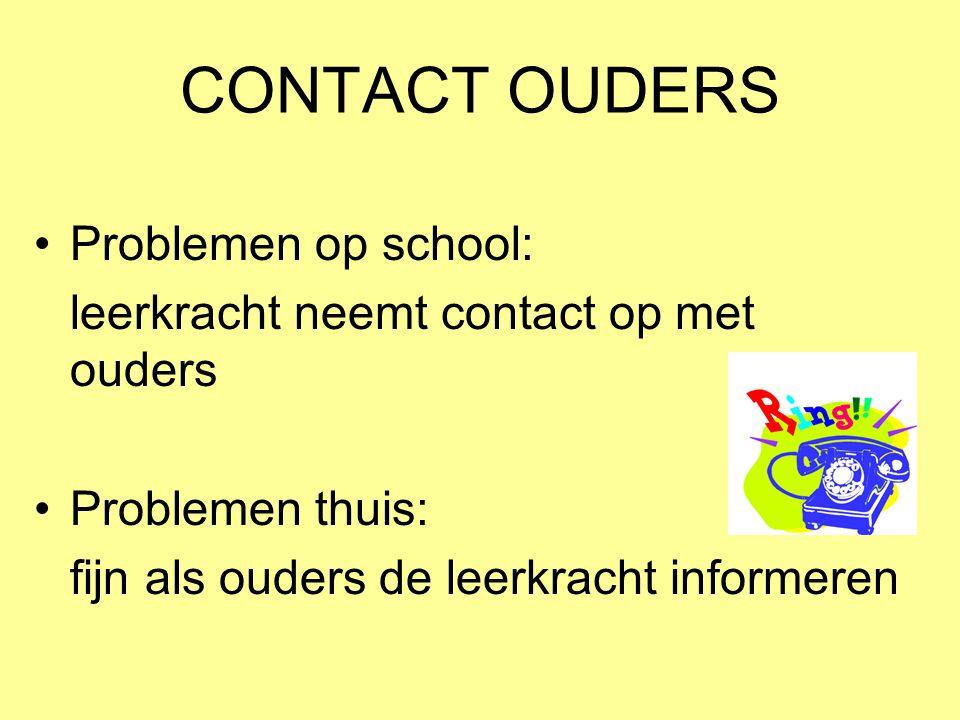 CONTACT OUDERS Problemen op school: