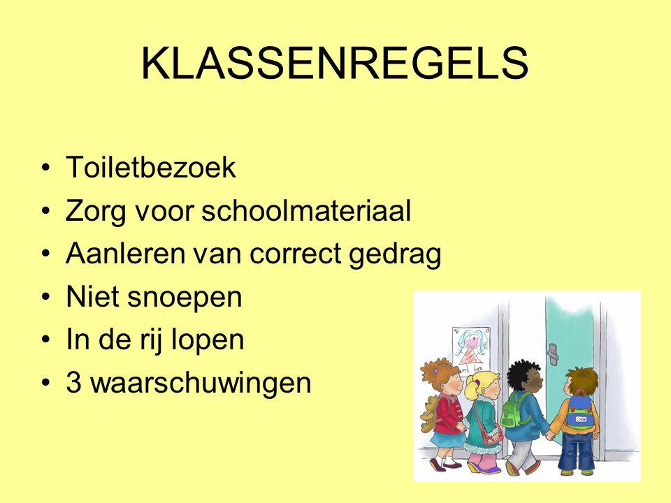 KLASSENREGELS Toiletbezoek Zorg voor schoolmateriaal