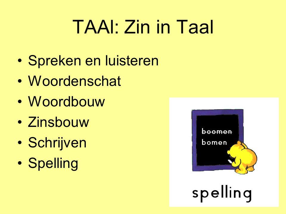 TAAl: Zin in Taal Spreken en luisteren Woordenschat Woordbouw Zinsbouw