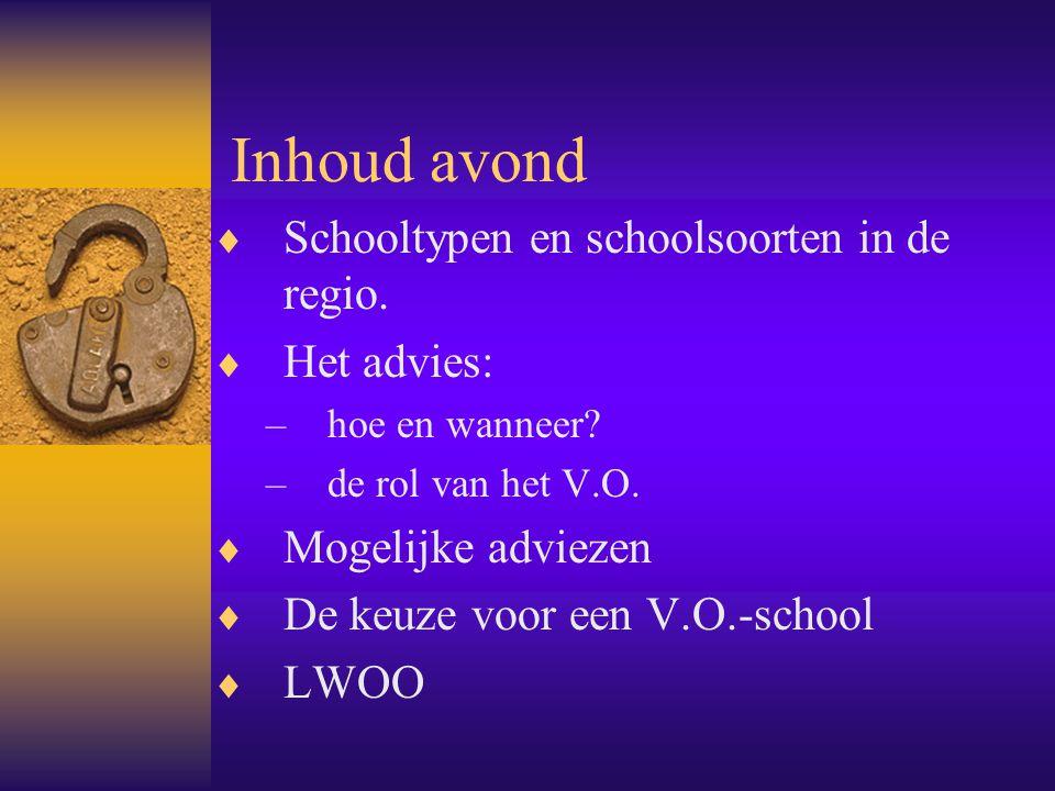 Inhoud avond Schooltypen en schoolsoorten in de regio. Het advies: