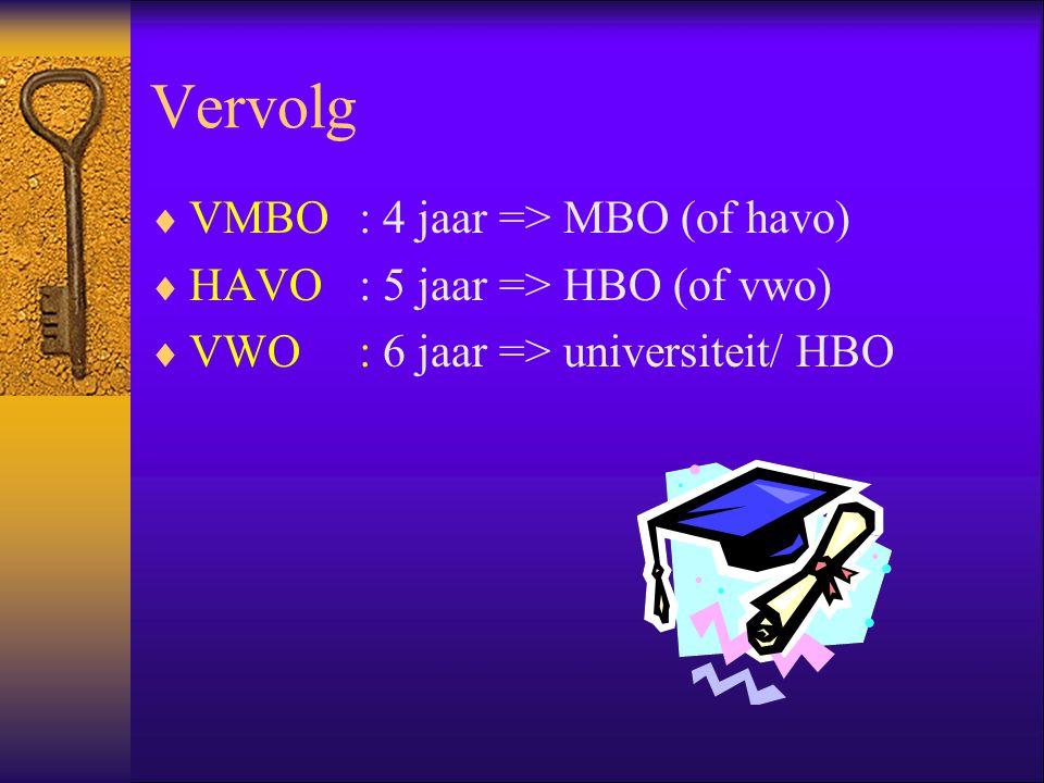 Vervolg VMBO : 4 jaar => MBO (of havo)
