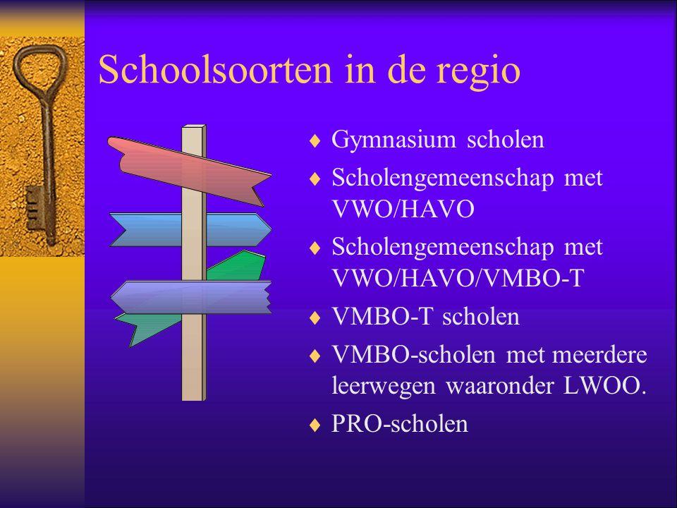 Schoolsoorten in de regio