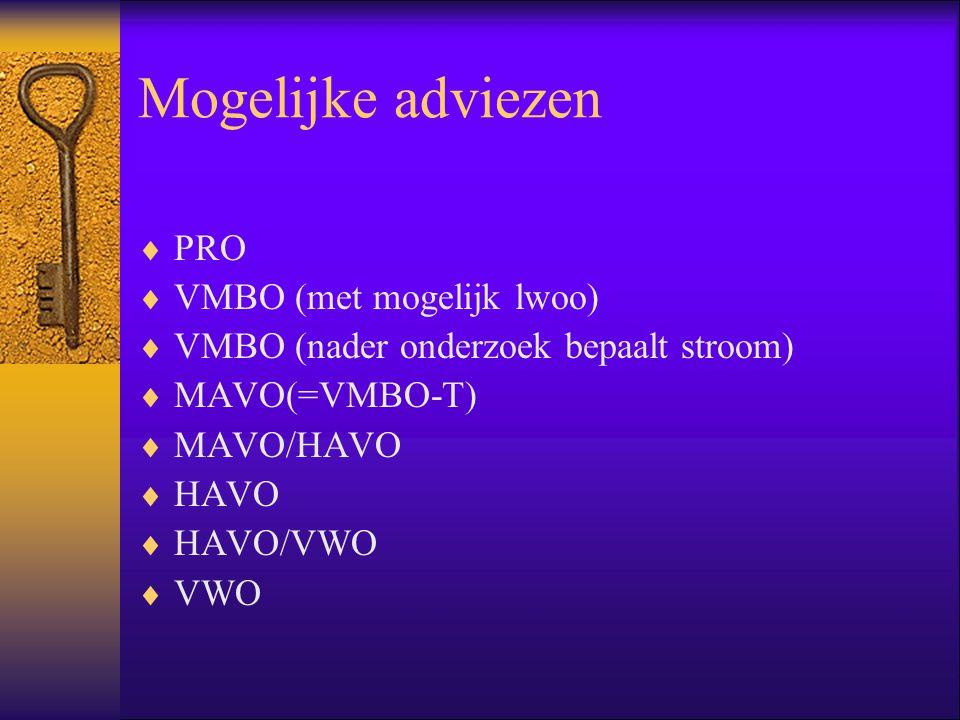 Mogelijke adviezen PRO VMBO (met mogelijk lwoo)