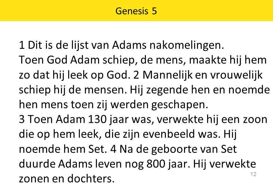 1 Dit is de lijst van Adams nakomelingen.