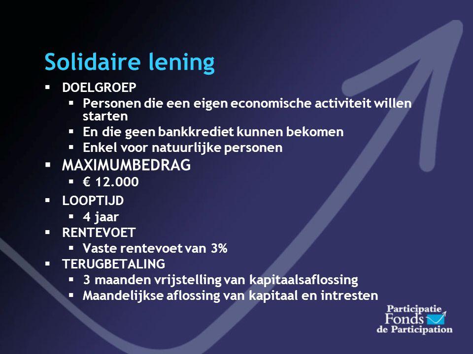 Solidaire lening MAXIMUMBEDRAG DOELGROEP