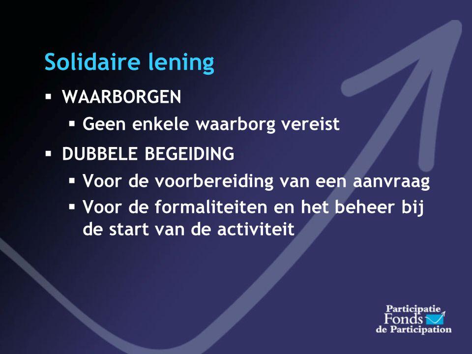 Solidaire lening WAARBORGEN Geen enkele waarborg vereist