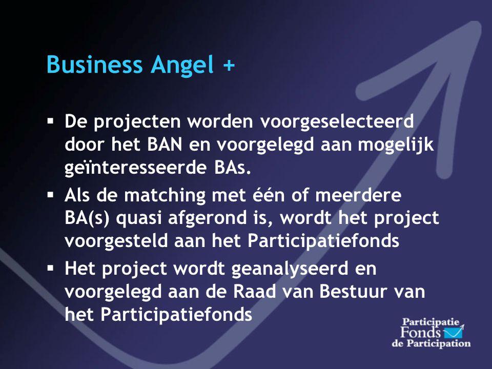 Business Angel + De projecten worden voorgeselecteerd door het BAN en voorgelegd aan mogelijk geïnteresseerde BAs.