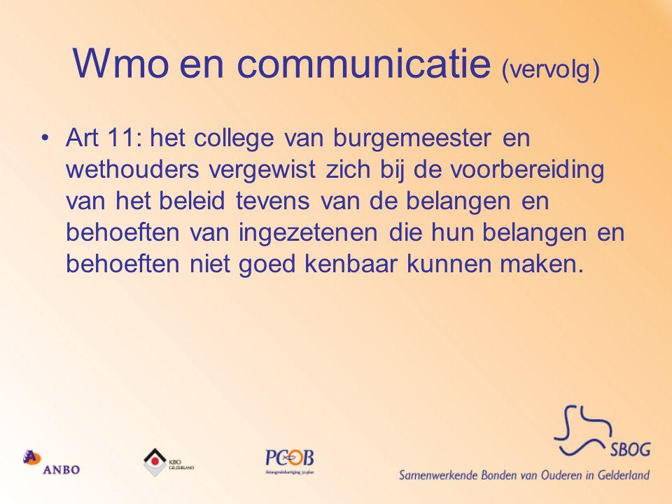 Wmo en communicatie (vervolg)