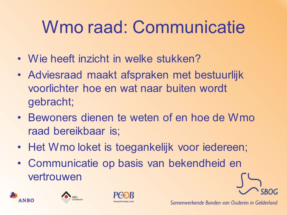 Wmo raad: Communicatie