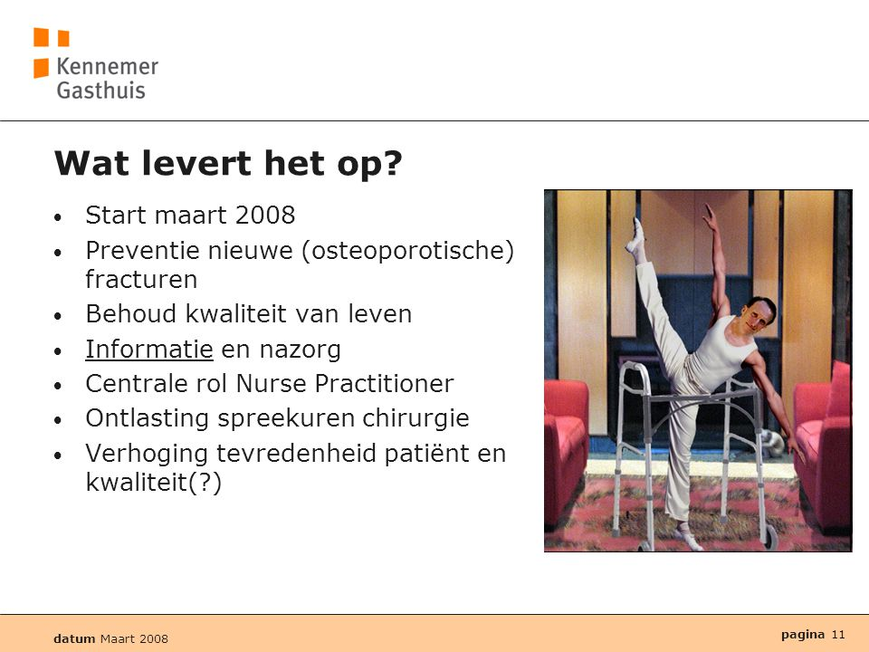 Wat levert het op Start maart 2008