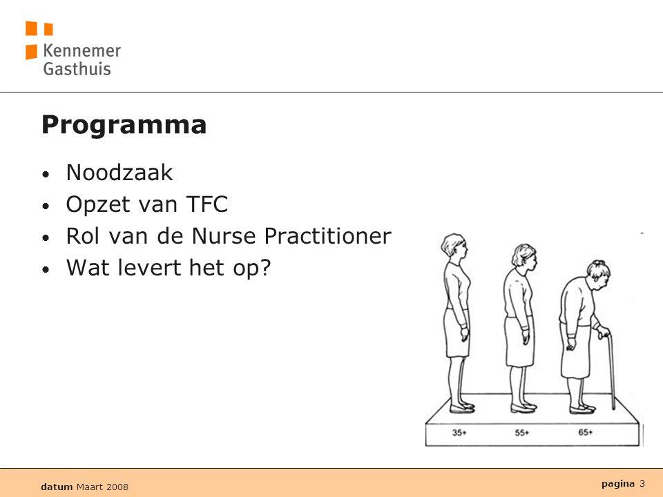 Programma Noodzaak Opzet van TFC Rol van de Nurse Practitioner