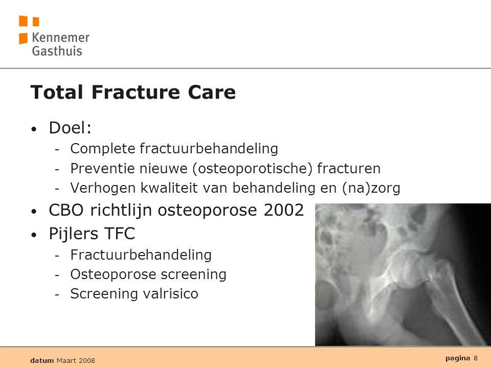 Total Fracture Care Doel: CBO richtlijn osteoporose 2002 Pijlers TFC