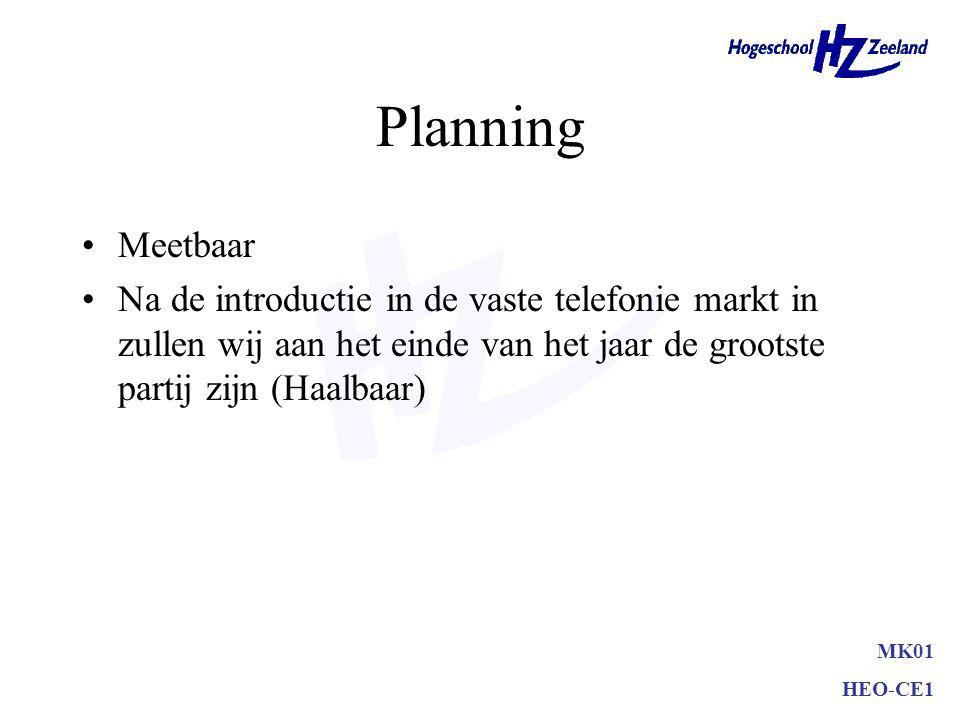 Planning Meetbaar. Na de introductie in de vaste telefonie markt in zullen wij aan het einde van het jaar de grootste partij zijn (Haalbaar)