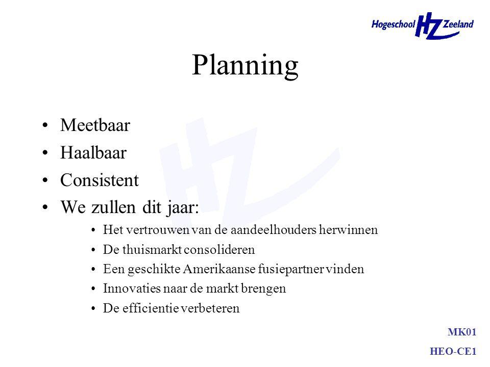 Planning Meetbaar Haalbaar Consistent We zullen dit jaar: