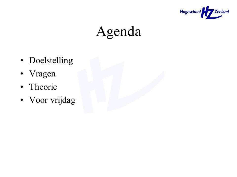 Agenda Doelstelling Vragen Theorie Voor vrijdag