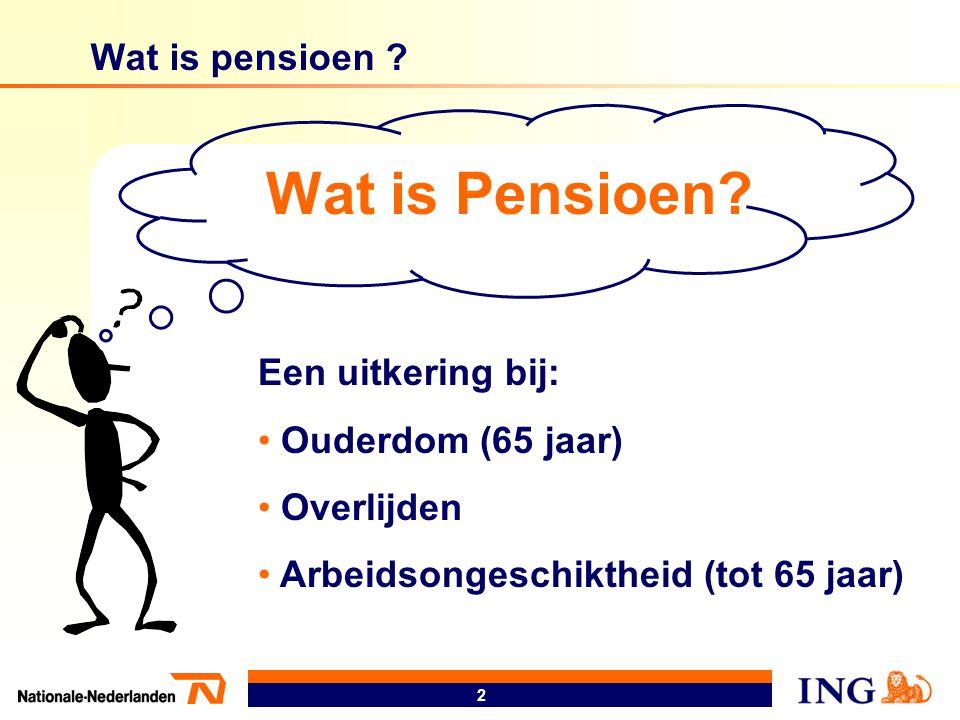 Wat is Pensioen Wat is pensioen Een uitkering bij: