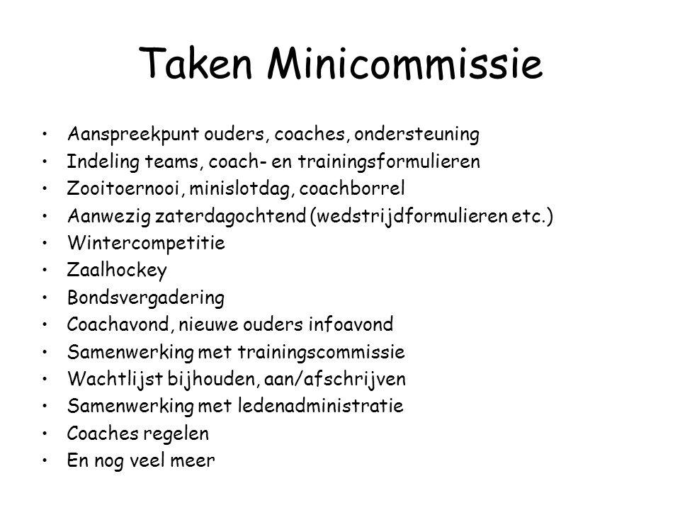 Taken Minicommissie Aanspreekpunt ouders, coaches, ondersteuning