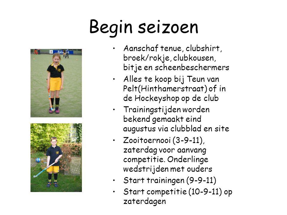 Begin seizoen Aanschaf tenue, clubshirt, broek/rokje, clubkousen, bitje en scheenbeschermers.