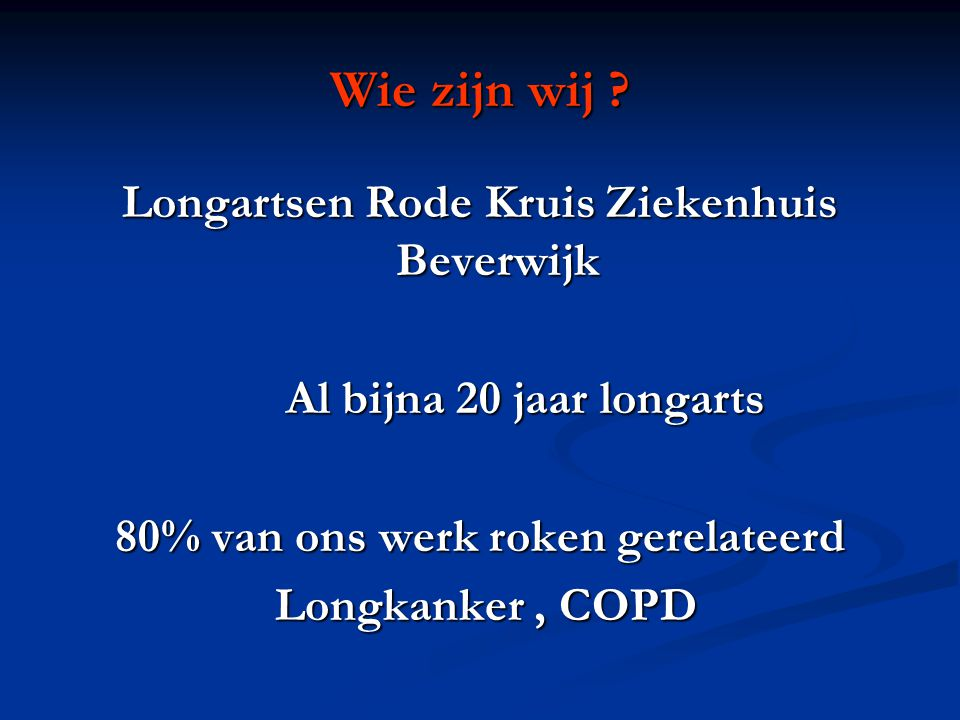 Wie zijn wij Longartsen Rode Kruis Ziekenhuis Beverwijk