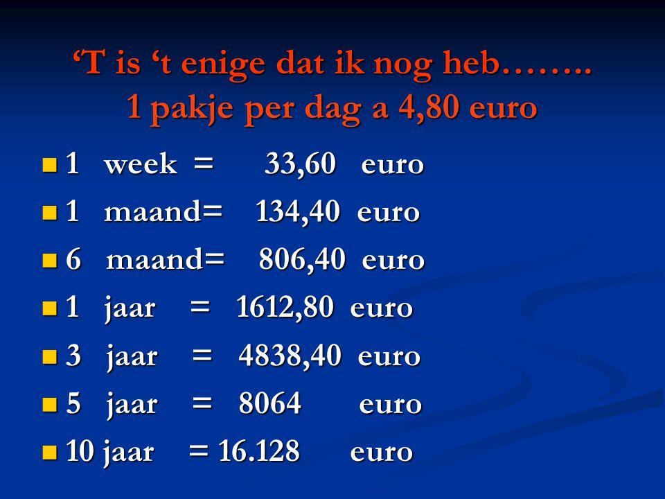 'T is 't enige dat ik nog heb…….. 1 pakje per dag a 4,80 euro