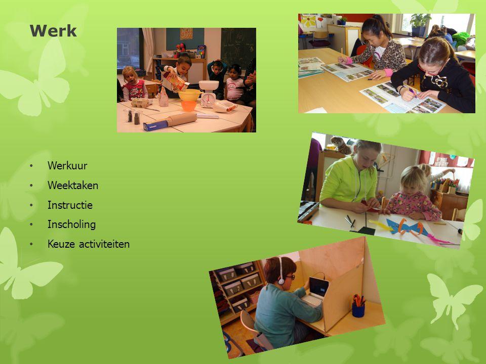 Werk Werkuur Weektaken Instructie Inscholing Keuze activiteiten