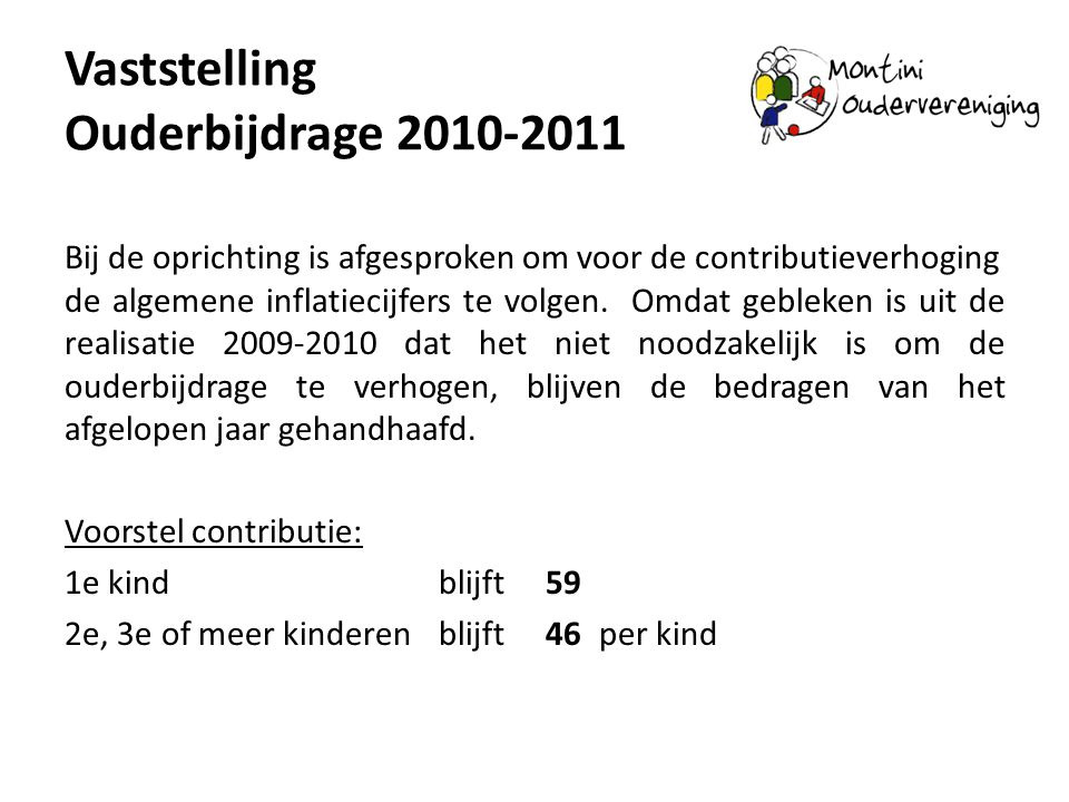Vaststelling Ouderbijdrage 2010-2011