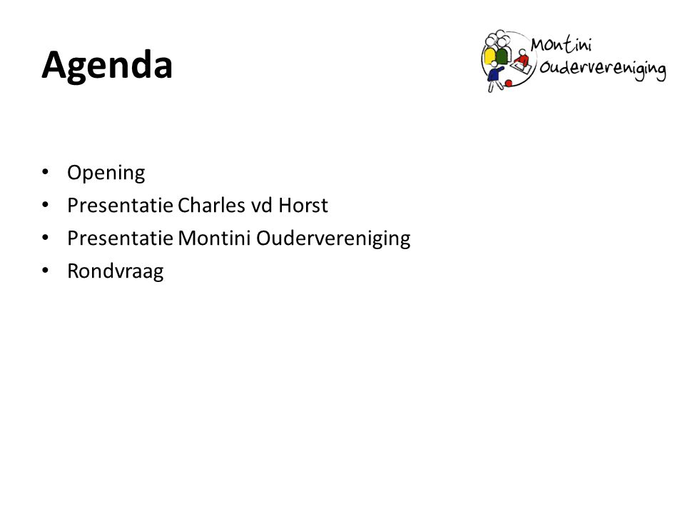 Agenda Opening Presentatie Charles vd Horst