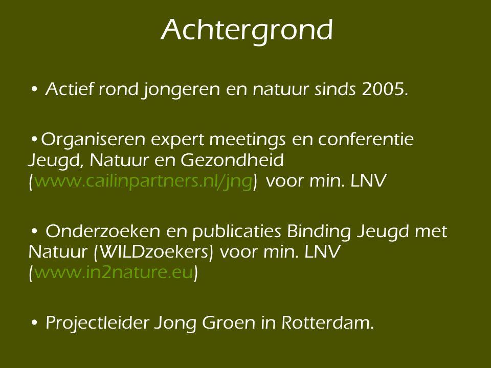 Achtergrond Actief rond jongeren en natuur sinds 2005.