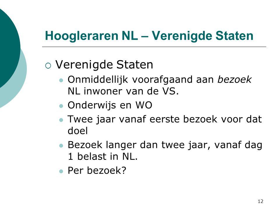 Hoogleraren NL – Verenigde Staten