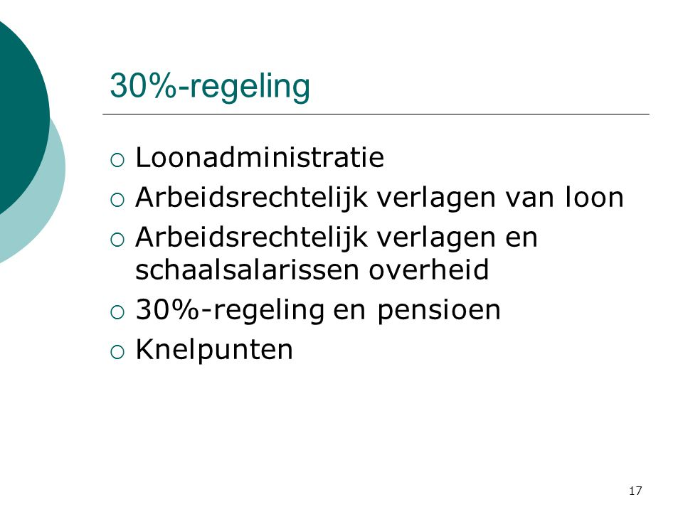 30%-regeling Loonadministratie Arbeidsrechtelijk verlagen van loon