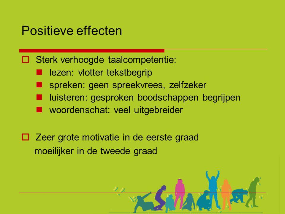 Positieve effecten Sterk verhoogde taalcompetentie: