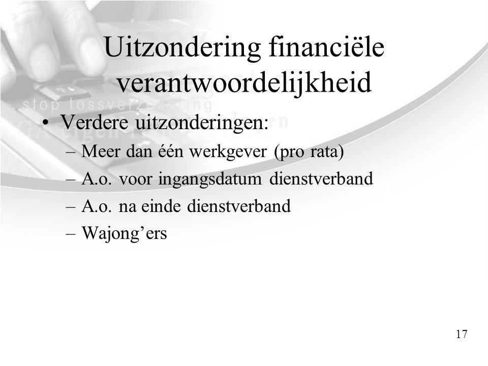 Uitzondering financiële verantwoordelijkheid