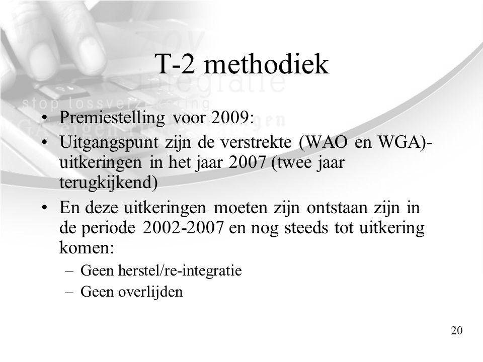 T-2 methodiek Premiestelling voor 2009: