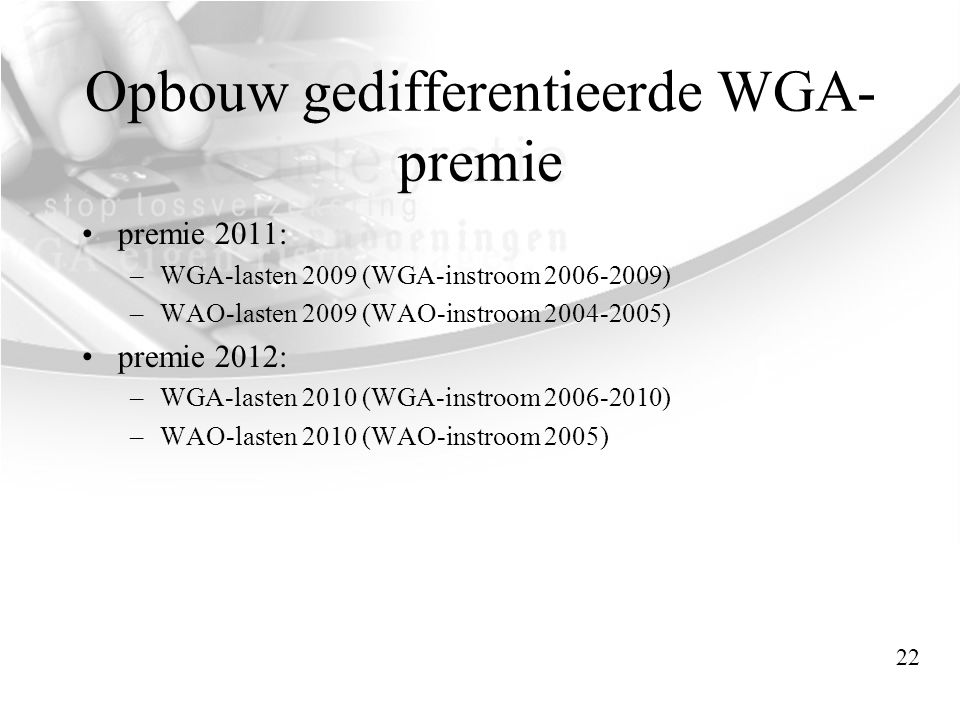 Opbouw gedifferentieerde WGA-premie