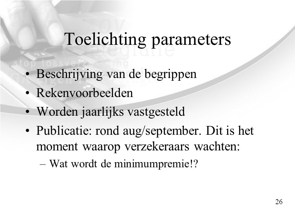 Toelichting parameters
