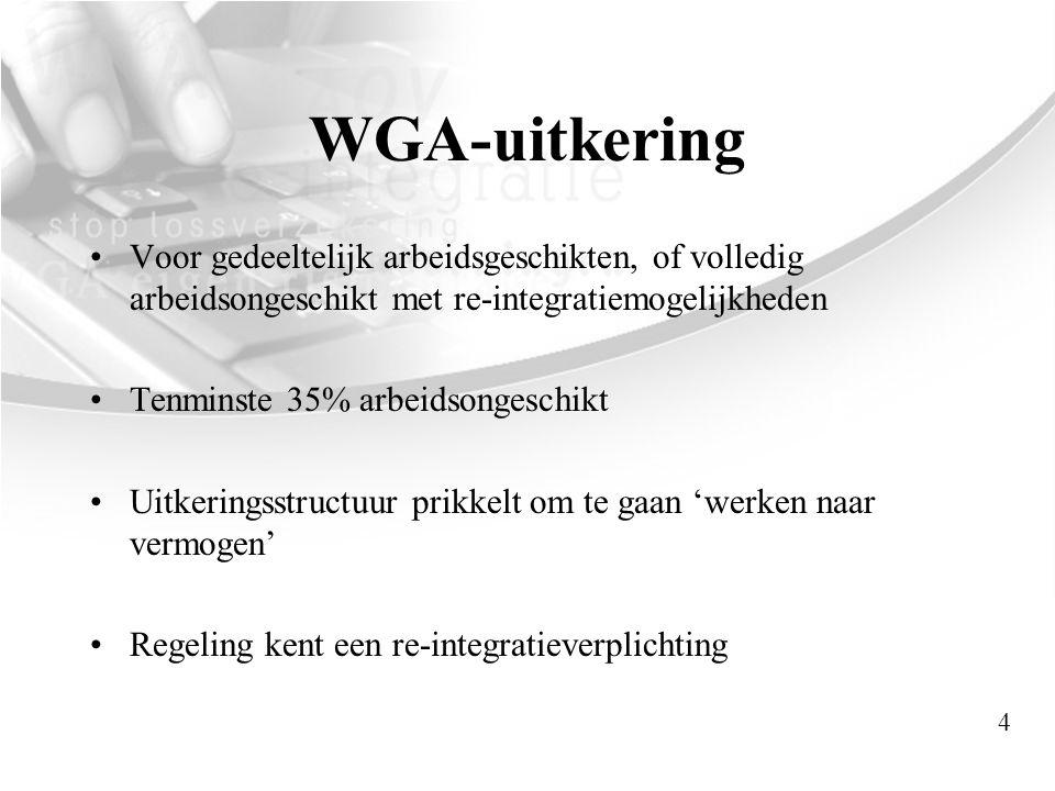 WGA-uitkering Voor gedeeltelijk arbeidsgeschikten, of volledig arbeidsongeschikt met re-integratiemogelijkheden.