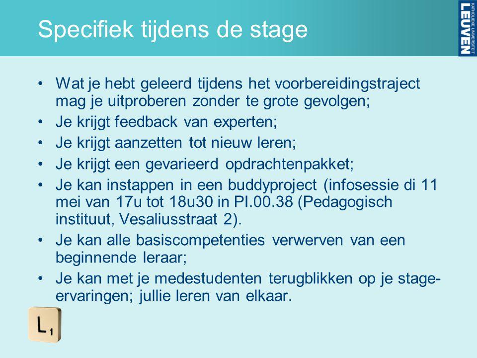 Specifiek tijdens de stage